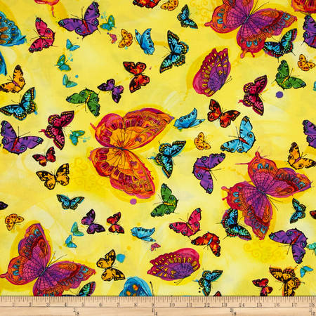 Timeless Treasures Monterey Allover Butterflies Yellow Fabric By The Yard