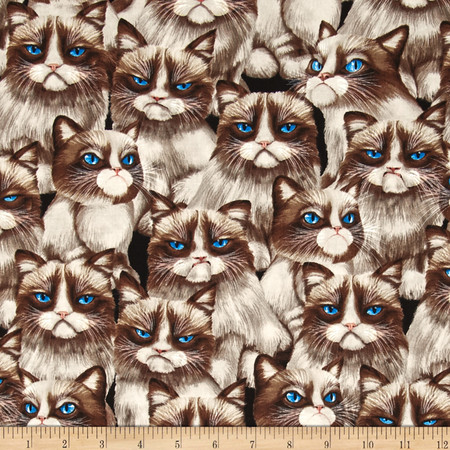 Timeless Treasures Moody Cat Natural Fabric By The Yard