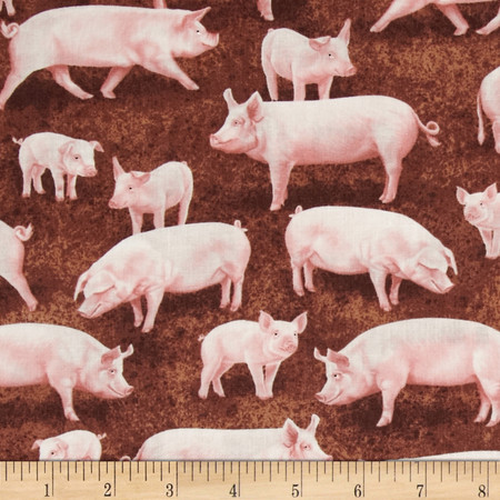 Timeless Treasures Pigs Brown Fabric