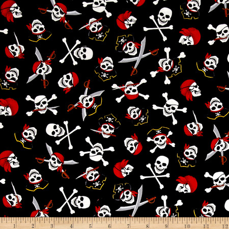 Timeless Treasures Pirate's Cove Skull & Crossbones Black Fabric By The Yard