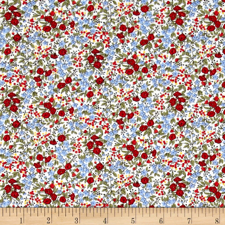 Timeless Treasures Posey Calico White Fabric By The Yard