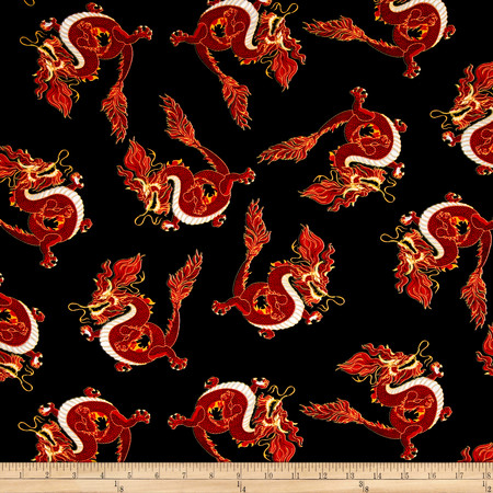 Timeless Treasures Red Dragons Black Fabric By The Yard
