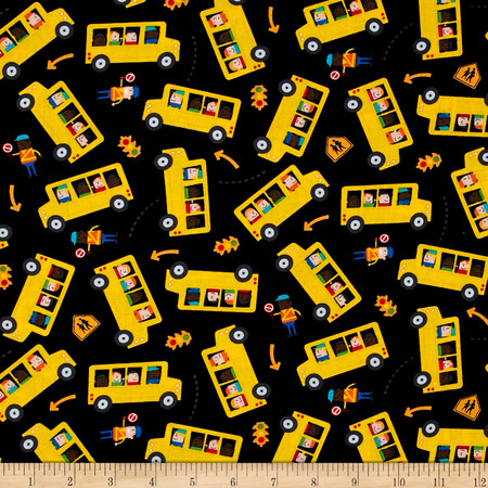 Timeless Treasures School Buses Black Fabric By The Yard