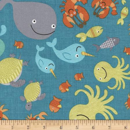 Timeless Treasures Splish Splash Allover Sea Creatures Turq Fabric By The Yard