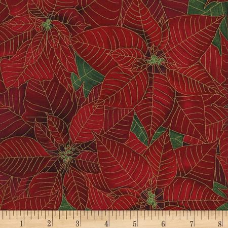 Timeless Treasures Tis the Season Metallic Poinsettias Red Fabric
