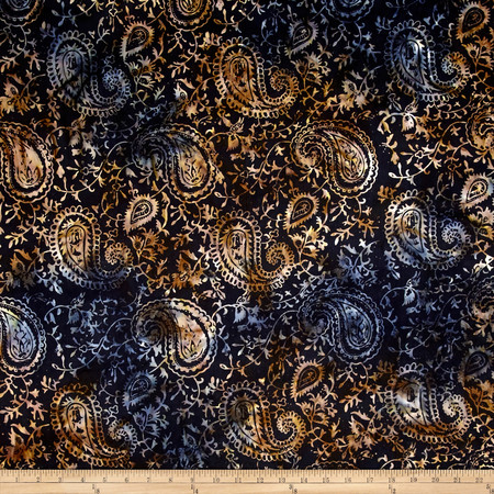 Timeless Treasures Tonga Batik Paisley Midnight Fabric By The Yard