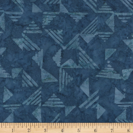 Timeless Treasures Tonga Batiks Lagoon Triangles Navy Fabric