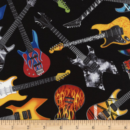 Timeless Treasures Tossed Electric Guitars Black Fabric By The Yard