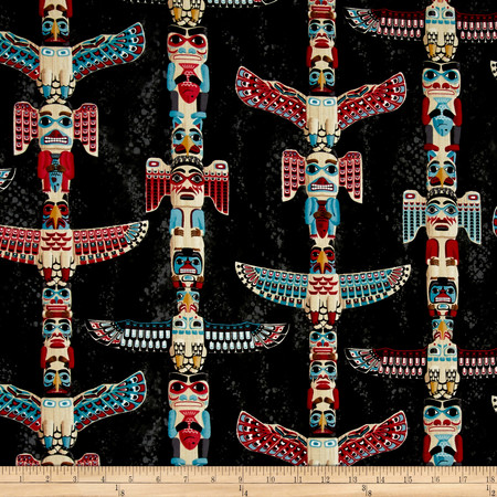 Timeless Treasures Totem Poles Charcoal  Fabric By The Yard
