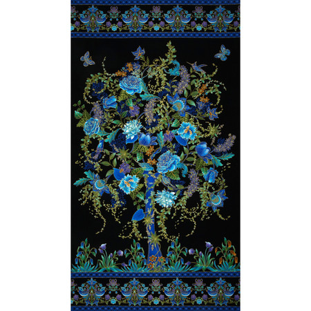 Timeless Treasures Tree of Life Metallic Eden Panel Black Fabric By The Yard
