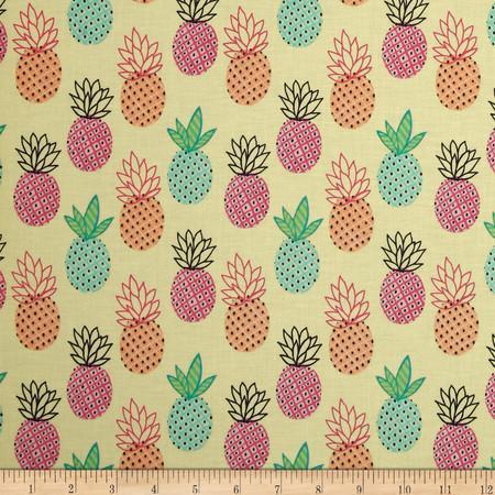 Timeless Treasures Trendy Treasures Pineapples Yellow Fabric