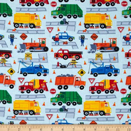 Timeless Treasures Trucks Sky Fabric By The Yard