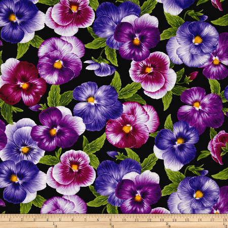 Timeless Treasures Viola Allover Pansies Black Fabric By The Yard
