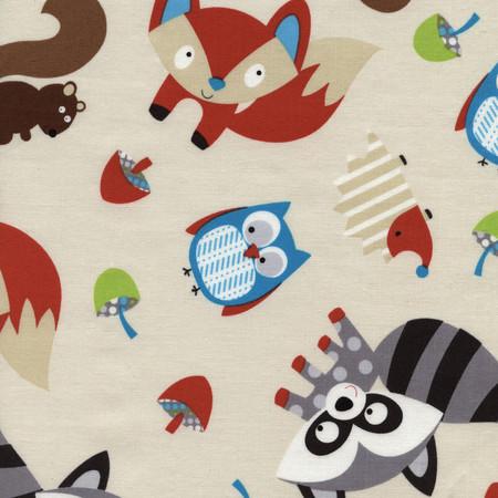 Timeless Treasures Woodlot Foxes Cream Fabric