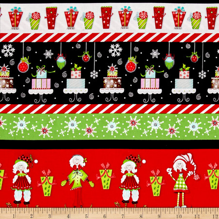 Tinsel Toes Christmas Stripe Red & Green Fabric By The Yard