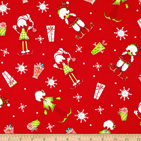 Tinsel Toes Pixie Girls Red Fabric By The Yard