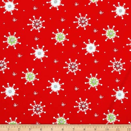 Tinsel Toes Snowflake Red Fabric By The Yard