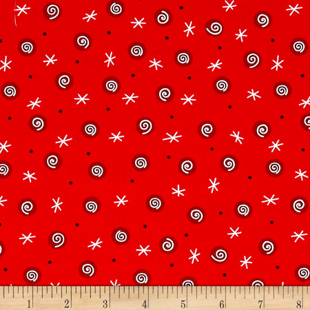 Tinsel Toes Swirl Dot Red Fabric By The Yard