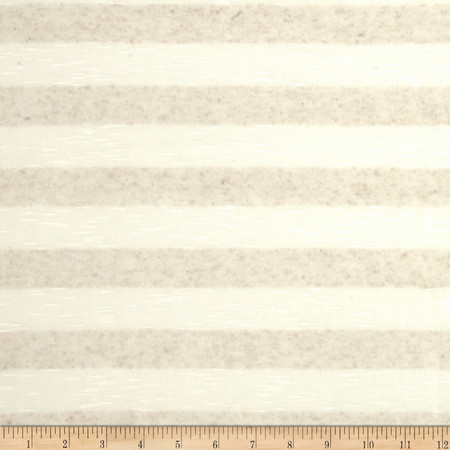 Tissue Hatchi Knit Stripes Oat/Cream Fabric