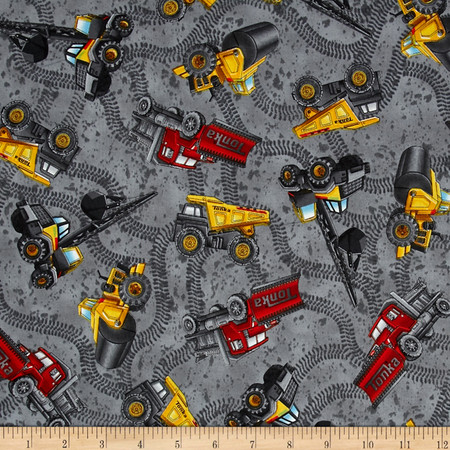 Tonka  Road Work Construction Vehicles Toss Grey Fabric