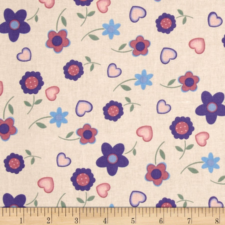 Tossed Daisies Peach/Purple Fabric
