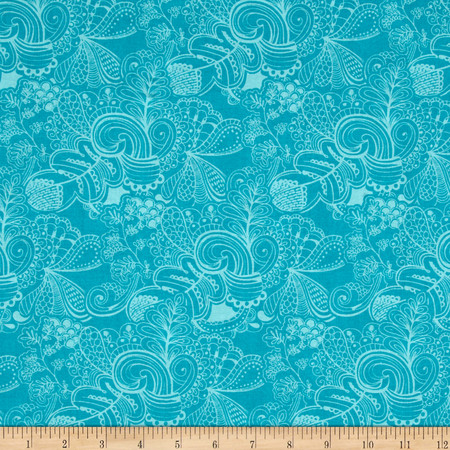 Tossed Flower Pots Sapphire Fabric