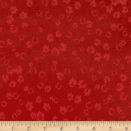 Tossed Leaves Tonal Red Fabric