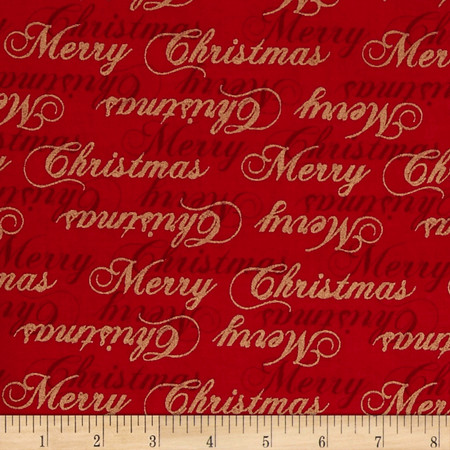 Traditional Poinsettia Metallic Words Red Fabric By The Yard
