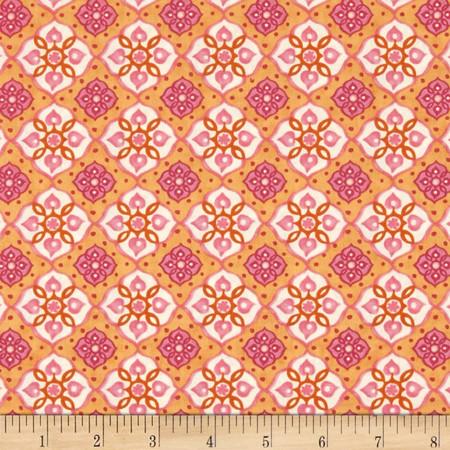 Tree of Life Large Geometric Shapes Light Orange Fabric