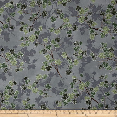 Treeline Drive Metallic Tree Branch Eucalyptus/Silver Fabric