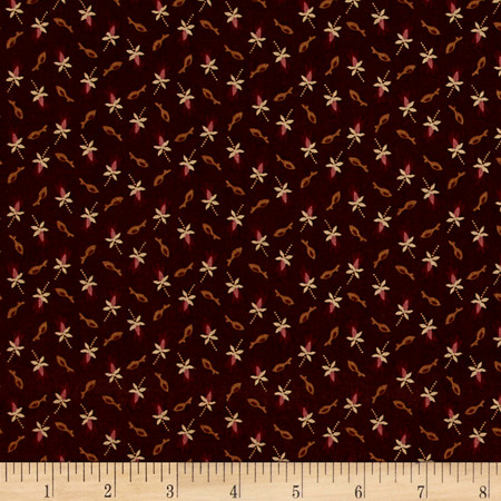 Treenware & Berries Tulip Brown Fabric By The Yard