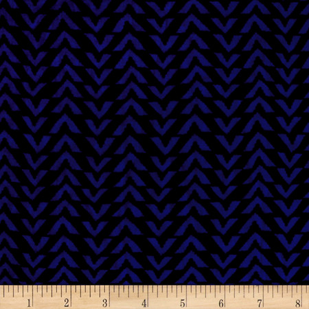 Triangle Stripes Rayon Challis Black/Electric Blue Fabric By The Yard