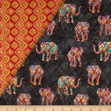 Tribal Instincts Double Sided Quilted Tribe Elephant Bright Colors Fabric