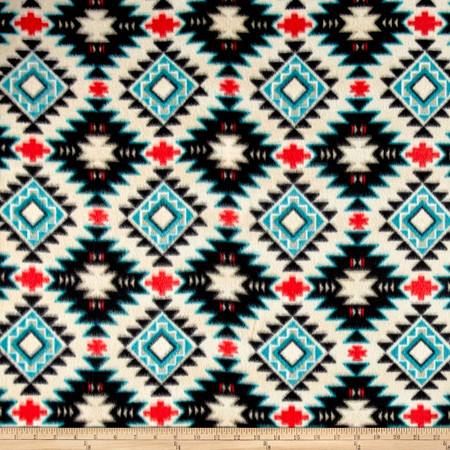 Tribal Style Southwest Argyle Fleece Taupe/Turquoise Fabric By The Yard