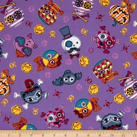 Trick or Treat Skull & Cat Faces Purple Fabric