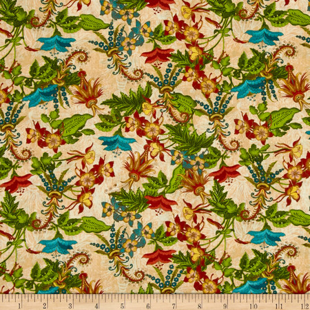 Tropical Travelogue Floral Cream Multi Fabric
