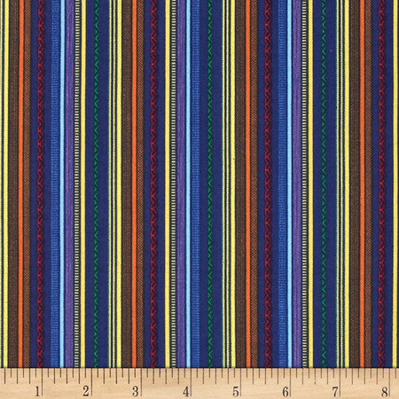 Truck Stop Patterned Stripe Blue Fabric By The Yard