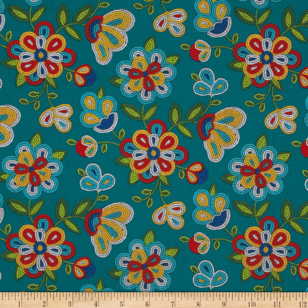 Tucson Beaded Floral Turquoise Fabric By The Yard