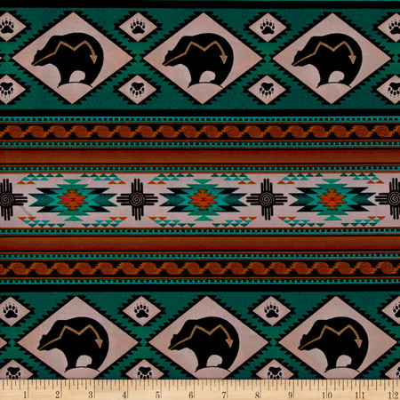 Tucson Bear Stripe Turquoise Fabric By The Yard