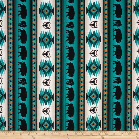 Tucson Buffalo Stripe Turquoise Fabric By The Yard
