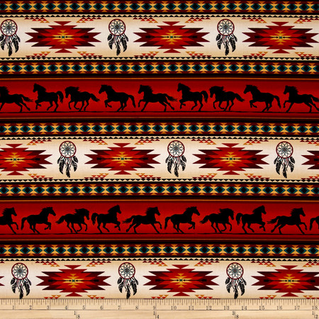 Tucson Horse Stripe Terracotta Fabric By The Yard