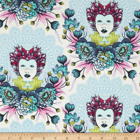 Tula Pink Elizabeth 16th Century Selfie Sky Fabric By The Yard
