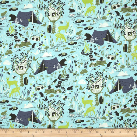Tula Pink Moon Shine Forest Frivolity Sky Fabric By The Yard