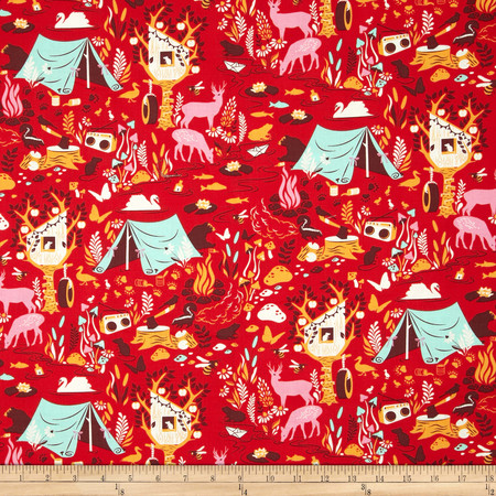 Tula Pink Moon Shine Forest Frivolity Strawberry Fabric