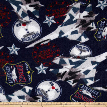 United States Air Force Fleece Navy Fabric By The Yard