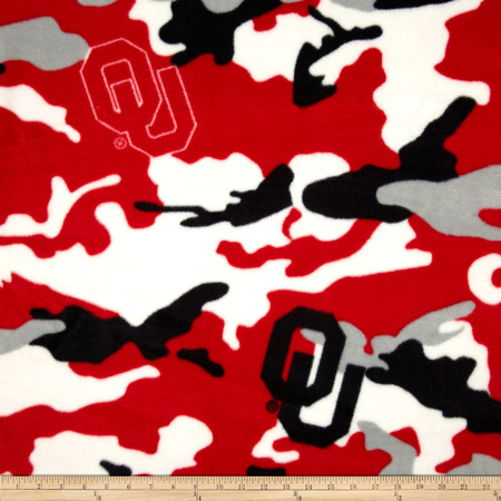 University of Oklahoma Fleece Camo Red Fabric