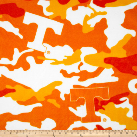 University of Tennessee Fleece Camo Orange Fabric By The Yard