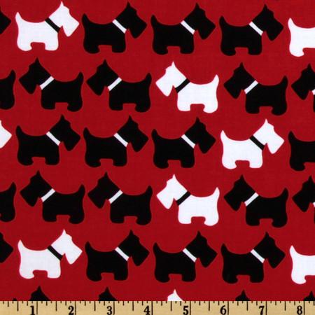 Urban Zoologie Scottie Dogs Red Fabric