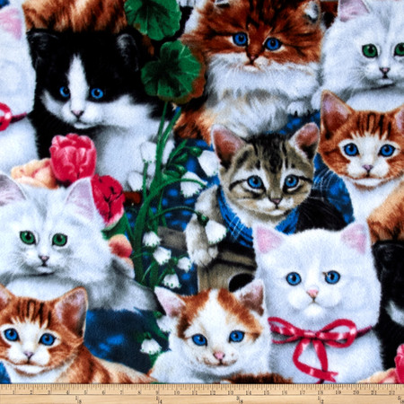 Valentine's Kittens Multi Fabric By The Yard