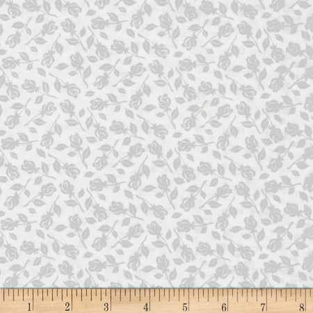 Vanilla Icing Rose Buds White Fabric By The Yard